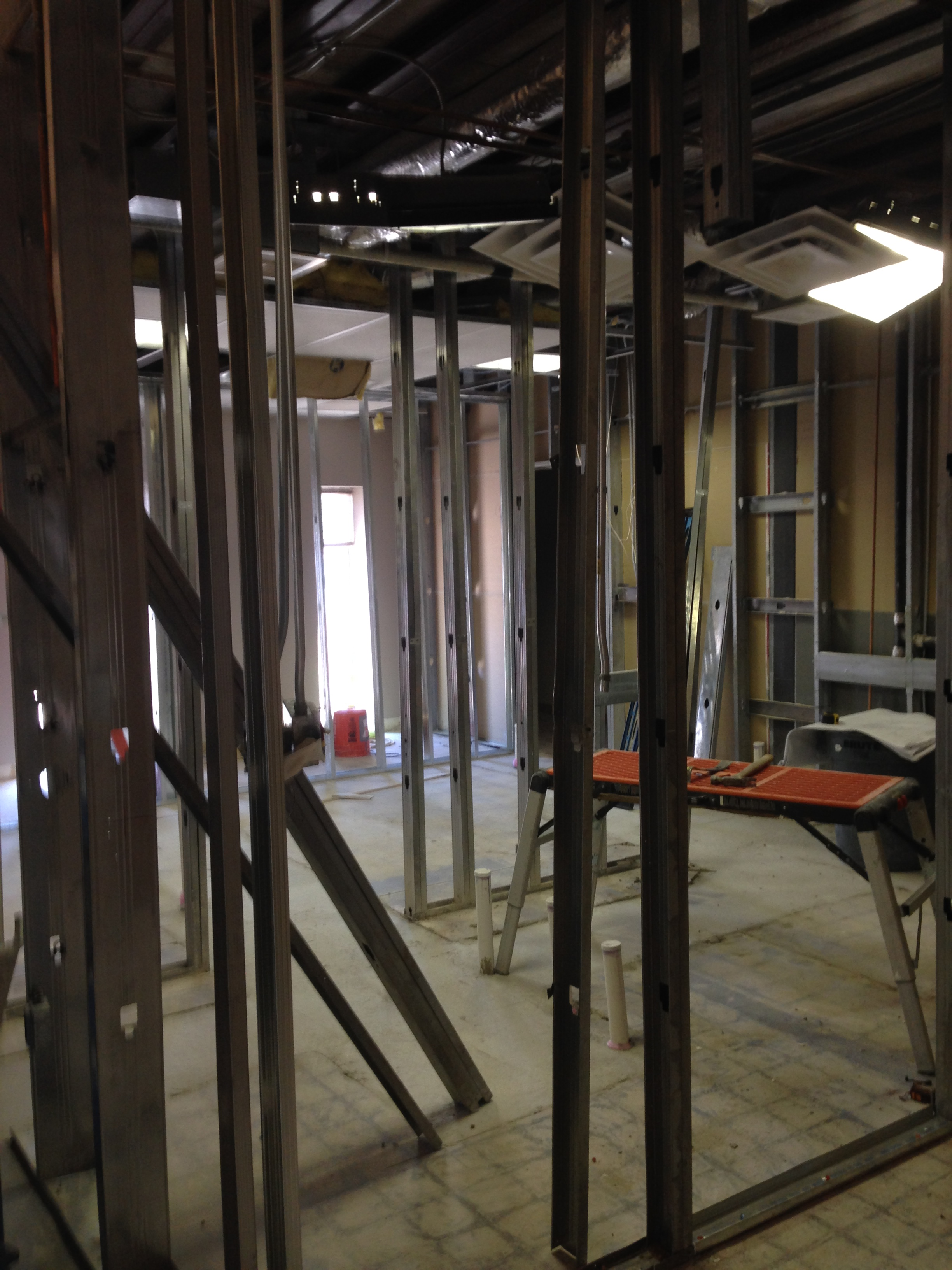 Restrooms and utility closet construction
