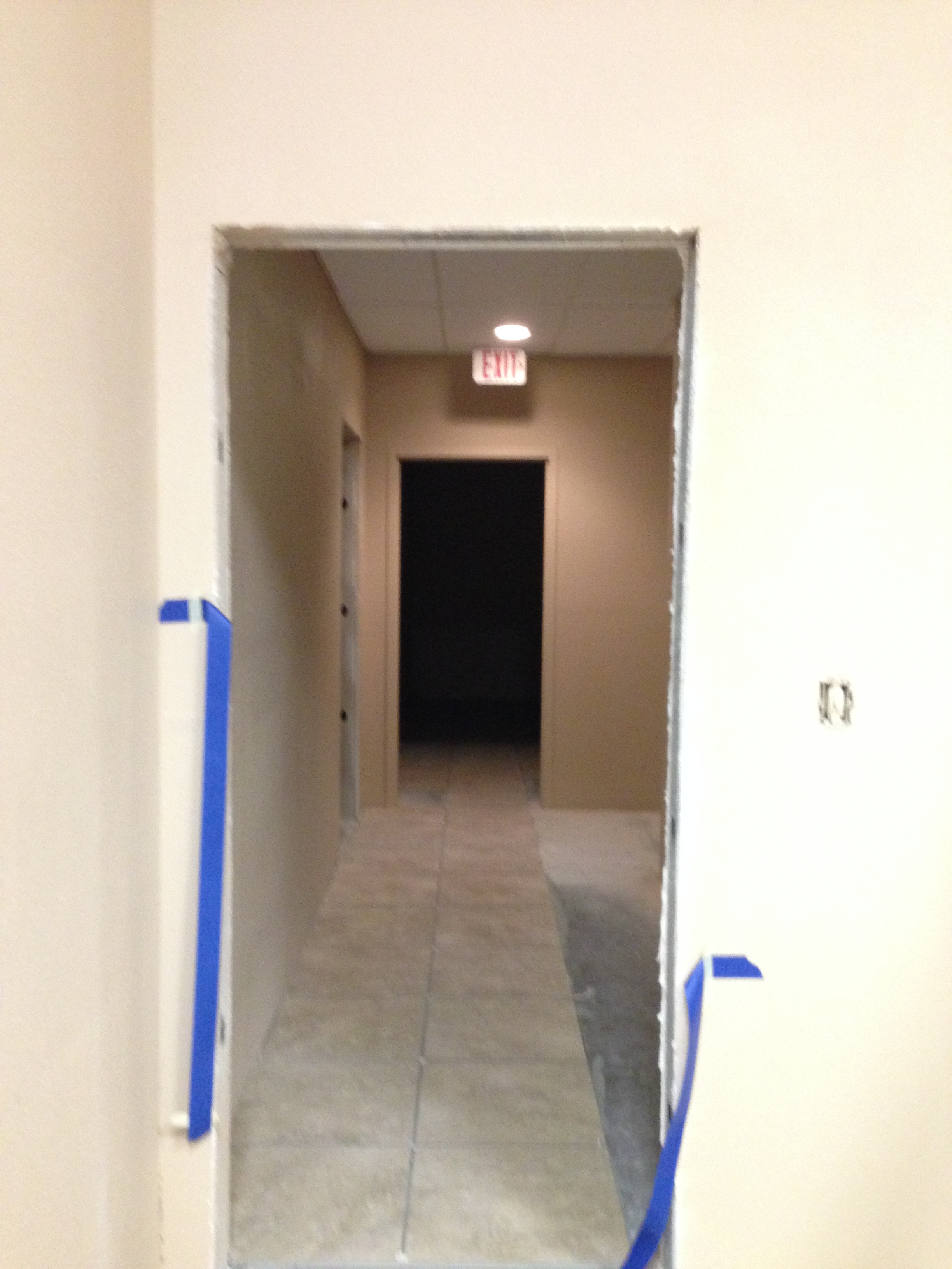 Hallway from lounge to restrooms